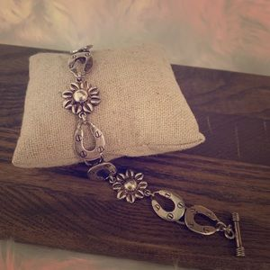 Jewelry - Sterling Horseshoe and Sunflower Toggle Bracelet